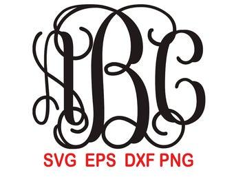 Vine Monogram.Font.Alphabet Letters.svg,eps,dxf,png.