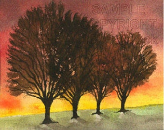 The Sunset Trees Watercolor Greeting Card by J. P. Haydock (Also available as a print)