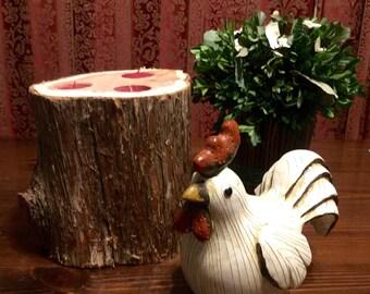 Cedar log tea light candle holder