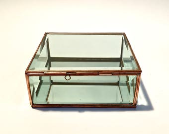jewelry - box window - display - square brass and beveled glass