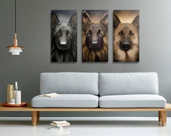 German Shepherd - all three color variations tryptic on canvas