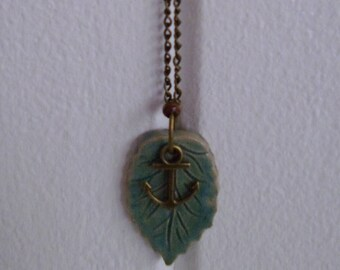 Ceramic Leaf and Anchor Necklace
