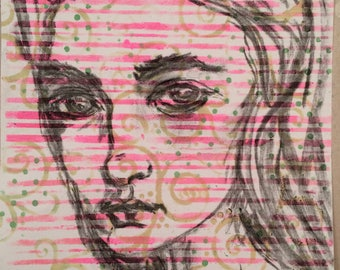 Girl is a mixed media charcoal drawing on paper