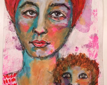 Woman and her Monkey mixed media painting