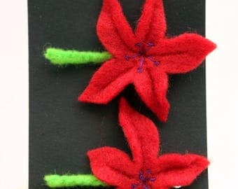 Pair of Hand Embroidered Red Felt Flower Hair Clips