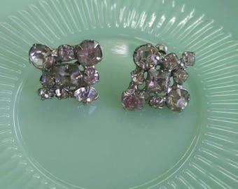 Vintage earrings antique earrings rhinestone earrings silver screw back earrings fashion earrings costume jewelry earrings