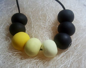 Black Modern Necklace / Beaded Jewellery / Polymer Necklace / Charm Necklace / Birthday Gift / Statement Necklace / Bridesmaid Gift