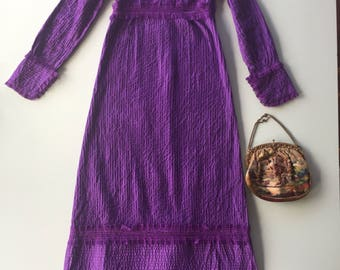 Royal purple, cotton maxi dress, prairie style, lace detailing, vertical piping, flaterring, would best fit a size 10 or a small size 12
