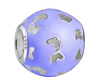 Authentic Pandora Fluttering Butterflies Lavender enamel Slider Charm/New/Ale/s925