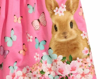 Dress pink rabbit with flowers and butterflies