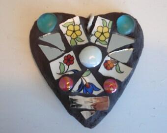 Small mosaic slate heart.