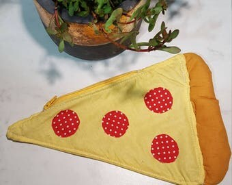 Pizza Slice Pouch with Zipper