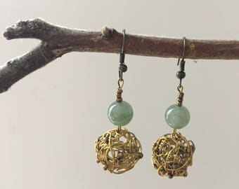 Earrings green jade