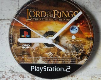 Lord of the Rings PlayStation Gaming CD Clock unique gift - upcycled