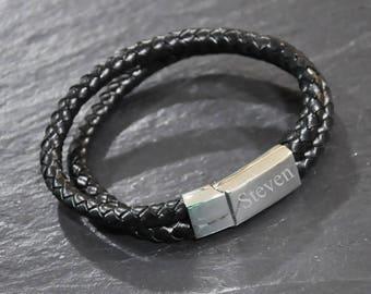 Personalised Double Leather Bracelet