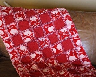 Adorable Baby Boy Rag Quilt (red/white)