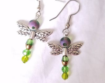 Silver Green Dragonfly Earrings