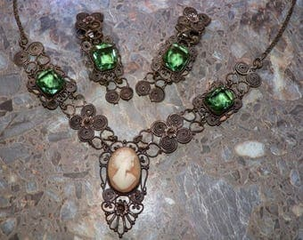 Gorgeous Antique Jewelry Hand Spun Silver Shell Carved Cameo Vintage Necklace & Matching Earrings With Multi-Faceted Green Glass Stones