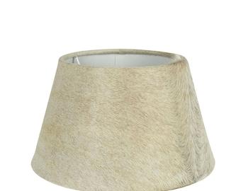 Cowhide Lampshade: fur lamp shade diameter 30-35 cm, 100% real fur beige