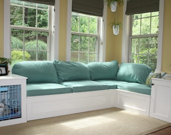 Custom Built Storage Corner Window Seat with End Tables and Enclosed Dog Crate- Dog Kennel Furniture- Custom Storage