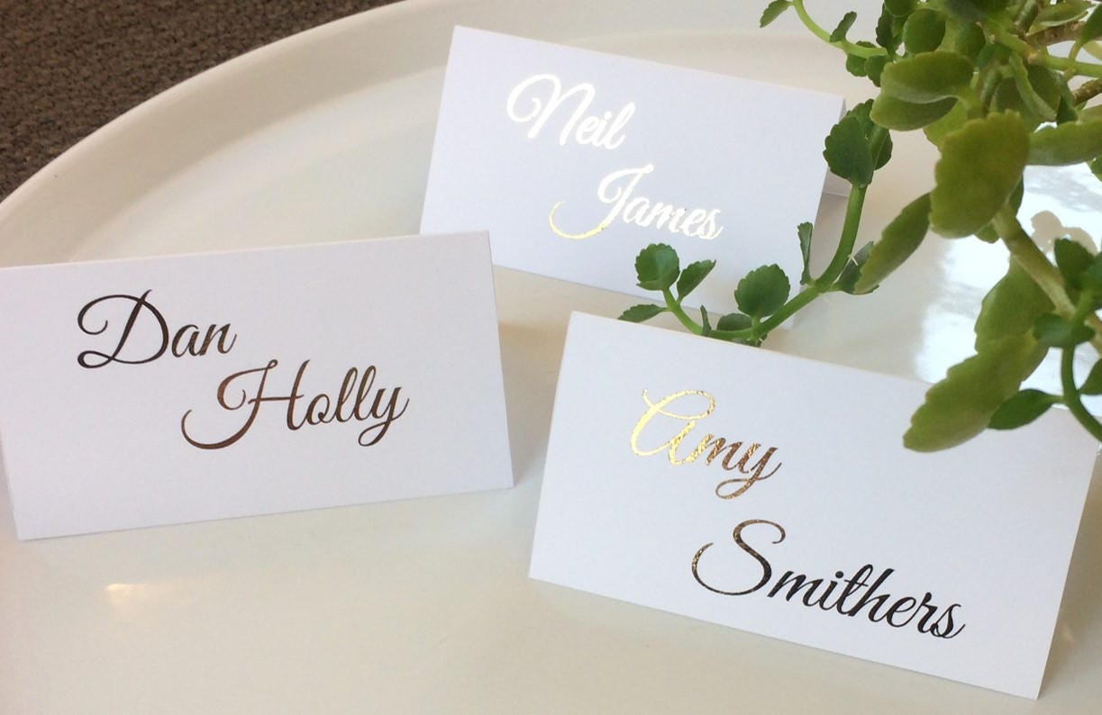 Wedding name cards place cards gold foil personalised for Name place cards wedding