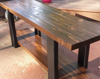 Entryway bench with storage , bench , farmhouse bench , rustic bench , wood bench , mudroom bench