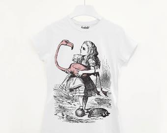 Alice And Flamingo Women's Alice In Wonderland T Shirt