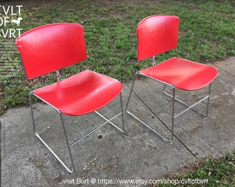 "Red Steelcase Chair Set of (2) Molded Plastic and Chrome Steel Frame ""Max Stacker"" Stackable Office / Diner Chairs - Mid Century Modern Red"