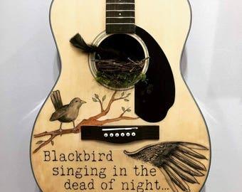 Black Bird Singing in the Dead of Night Guitar Framed 11x17 Print