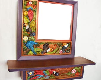 Console and mirror in wood carved with birds/console and mirror on wood carved with motifs of birds