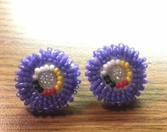 Purple Ojibwe Four Directions Stud Earrings