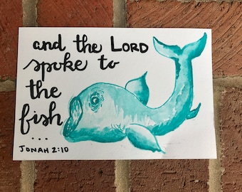 Whale Watercolor painting, Jonah 2:10 Scripture Art, Cabin Sign, Christian Home Decor, Fishing Gift, Bible Verse Art, Religious Home Decor