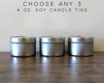 Choose Any 3 Soy Candles Sampler Pack, 4 oz Soy Candle Tins, Soy Wax Candles, Scented Candles, Soy Candles Handmade, Modern Farmhouse Decor