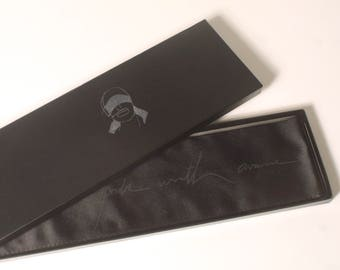 Black duchess silk blindfold // Seven Deadly Sins silver text – BOXED NEW