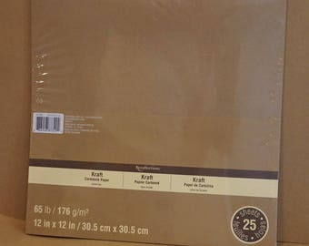 25 Sheets Kraft 65 lbs Cardstock Paper 12 x 12 inches