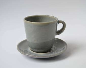 Blue Celadon Ceramic Teacup with Saucer
