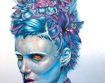Medusa Color Pencil ORIGINAL ART