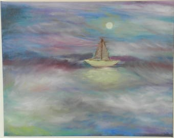 Original Acrylic & Oil Painting Moon Light , Night time , Blue water , Stormy Sea