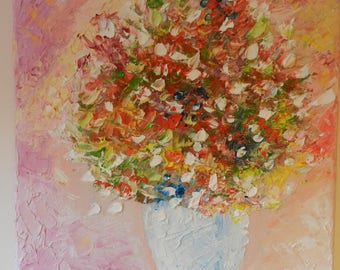Original Oil Painting Impasto Abstract Romantic Flowers in Vase , Pink Colors Wedding , Anniversary , Valentine's day Gift Present , Small