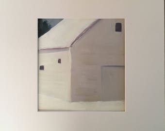 Original Oil Painting, White Barn in Snow