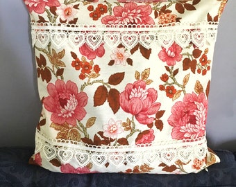 Romantic floral Cushion cover lace  pillowcase cottage chic embellished cushion cover vintage fabric roses handmade