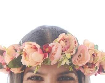EVA FLOWER CROWN - Pink, yellow and green flower crown, Braid flower crown, Flower girl crown, Floral headpiece, Head Wreath