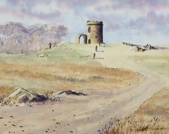 Old John in the Autumn, blank greetings card from an original painting of a landscape by Ingrid Hill