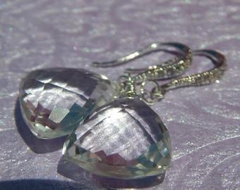 Trillion cut large Rock Crystal Quartz earrings in sterling silver