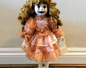 Hand Painted Horror Art Porcelain Doll Standing Victorian Clown Style