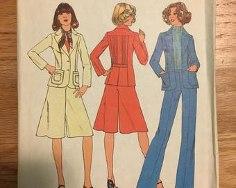 Vintage Simplicity Misses Jacket/Pants/Skirt Sewing Pattern #7672 Size 14, 1976