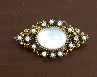 Vintage Capri Pin with Faux Moonstone and Rhinestones