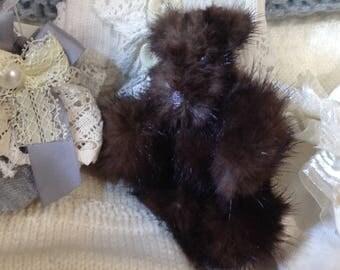 Handmade genuine mink tiny teddy bear