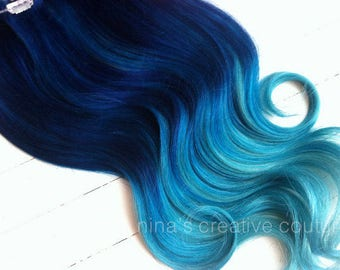 Blue to Light Blue Ombre Extensions