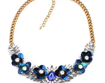 50% OFF Bib Shourouk Statement Blue Sequin Rhinestone Necklace